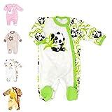 Baby Sweets Unisex Baby Strampler/Baby-Overall aus 100% Bambus in Beige Grün als Schlafanzug und Babystrampler mit Panda-Motiv für Neugeborene und Kleinkinder in der Größe: 1 Monate (56)