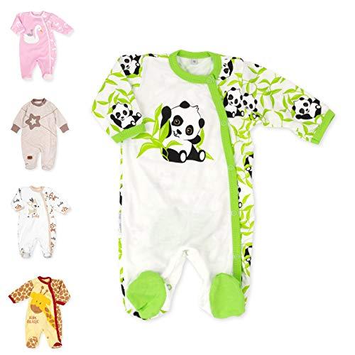 Baby Sweets Unisex Baby Strampler/Baby-Overall aus 100% Bambus in Beige Grün als Schlafanzug und Babystrampler mit Panda-Motiv für Neugeborene und Kleinkinder in der Größe: 6 Monate (68)