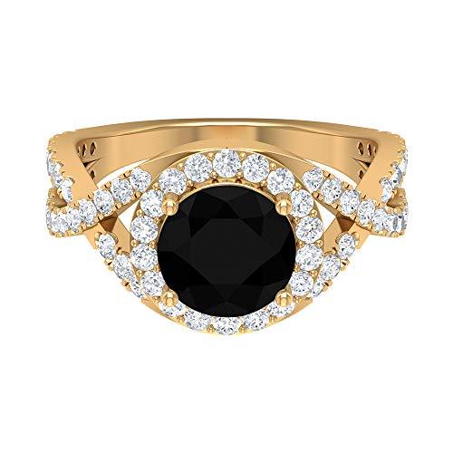Anillo de compromiso de 8 mm, solitario de ónix negro, anillo de compromiso con diamante HI-SI, anillo de halo cruzado, anillo solitario con piedra lateral, oro de 10 quilates blanco