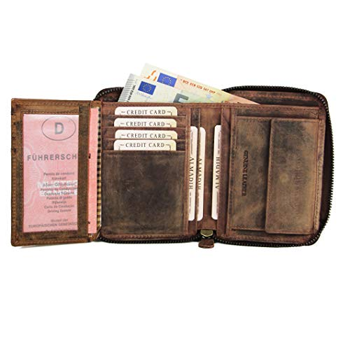 ALMADIH® Premium Leder Portemonnaie RFID-Schutz Hochformat mit Reißverschluss - 13 Kartenfächer in Geschenkbox P1H-RV BV Herren Geld-Börse Geldbeutel Brieftasche braun (P1H-RV Dunkelbraun Vintage)