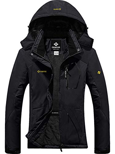 GEMYSE Women's Mountain Waterproof Ski Snow Jacket Winter Windproof Rain Jacket (Black,S)