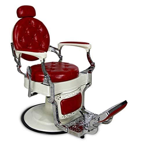 Sedia Barber Chair in pelle, da uomo, da parrucchiere, con scritta'Storwberry Cheesecake', stile vintage classico retrò Chesterfield Oldschool Original John Barber & Sons