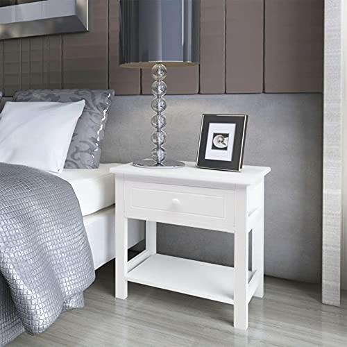 yeacher Bedside Table,Bedside Cabinet Wood White