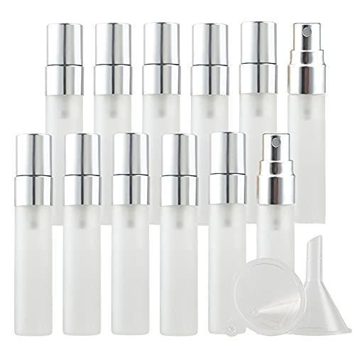 BasicPacking 12 Pieza Mate Transparente Portatil de Perfume Bote de Spray Viaje Pulverizador con Sprayer de Plata, Recargable 5 ml Vidrio Botella de Spray Atomizador de Perfume Viaje + 2 x Embudo