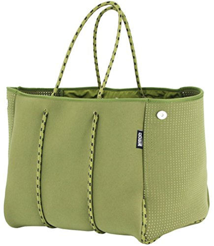 QOGiR Neoprene Multipurpose Beach Bag Tote with Inner Zipper Pocket and Movable Board (Army Green, Large)