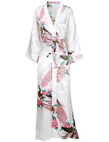 BABEYOND Damen Morgenmantel Maxi Lang Seide Satin Kimono Kleid Pfau Muster Kimono Bademantel Damen Lange Robe Schlafmantel Girl Pajama Party (Weiß)