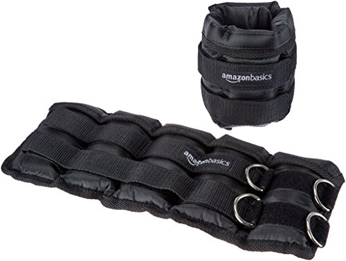 AmazonBasics Adjustable 5 Pound Ankle and Leg Weights - Set of 2, 14 x 6 Inches, Black