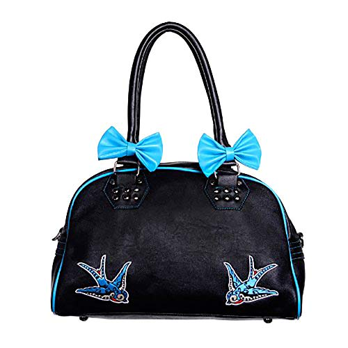 Banned Schultertasche BLUE SWALLOWS BAG black