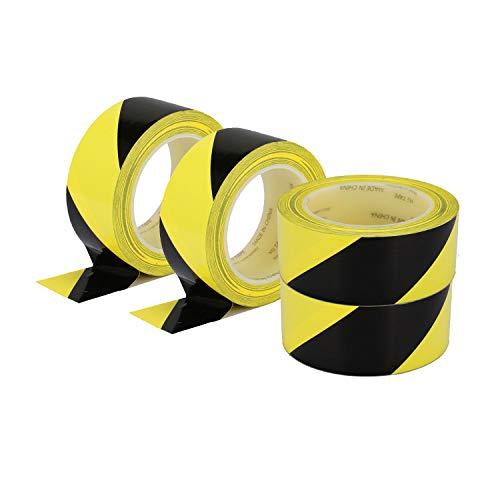 "Hazard Warning Safety Stripe Tape 2""x 36 Yards Yellow Black Caution Tape Roll Waterproof Anti Slip Non-Abrasive Self-Adhesive Floor Marking Tape for Wall Floor Pipe Equipment Factory (4)"