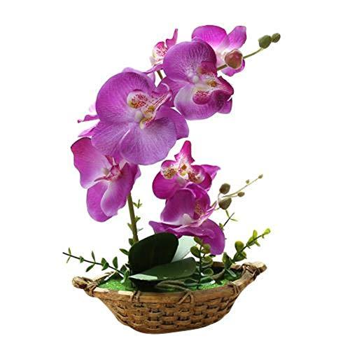 VFUM Home Ornament Decor 1 Pc Kunstbloem Dubbele Vork Vlinder Orchidee Bonsai Met Bloempot Mini Bonsais Voor Thuis Bruiloft Decoratie Diy benodigdheden