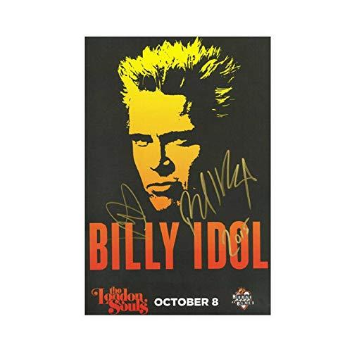 Billy Idol Autogrammiertes Konzert-Poster auf Leinwand, Wandkunst, Deko, Bild, Gemälde für Wohnzimmer, Schlafzimmer, Dekoration, ohne Rahmen, 20 x 30 cm
