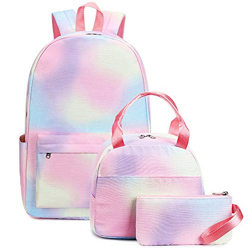 Girls Backpack Bookbag School Bag Rainbow Tie Dye Teen School Backpack Set with Lunch box and Pencil Case