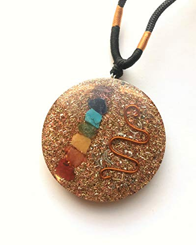 Metatron Cube Orgonite Mixed Chakra Orgone Pendant Variations – Revitalization and Relaxation Chi Energy Enhancing Crystal Necklace Tesla Coil Ezina Designs Meditation Collection (Caduceus Chakra)