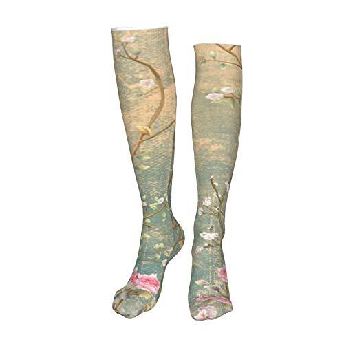 Vcoanyu Diseño de papel tapiz floral vintage en 3d Unisex adulto de 60 cm de longitud medias deportivas impresas en 3d calentadores de piernas para mujeres