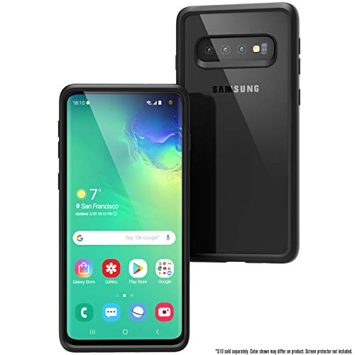 Catalyst Case Compatible with Samsung Galaxy S10 Case Military Impact Resistant, Shock Proof, Drop Proof 9.9ft, Impact Truss Cushioning System, Raised Bezels, Lanyard, Clear Back - Stealth Black