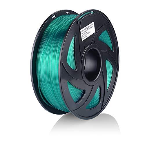 S SIENOC 1Kg PEGT 1,75mm 3D Printer Filamento Spool 3D Materiale di stampa per stampanti (PEGT Trasparente-Verde)