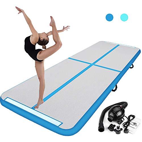 Aufblasbar Gymnastik Tumbling Matte, Air Floor Track Trainingsmatte, Gymnastikmatte mit Elektrisch luftpumpe Geeignet für Gymnastik, Yoga, Training und Parkour, 300 x 90 x 10 cm (Grün) (Blau)