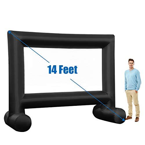 Tangkula pantalla inflable de 14 pies, pantalla de proyección con soplador integrado y bolsa de almacenamiento, pantalla de proyector portátil soplado de aire para juegos de fiesta al aire libre, patio trasero, cine en casa (14 pies)