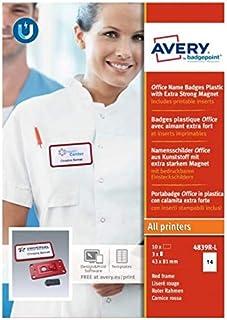 AVERY - Boite de 10 badges magnétiques Office rouges avec aimantextra puissant, Format 37 x 75 mm