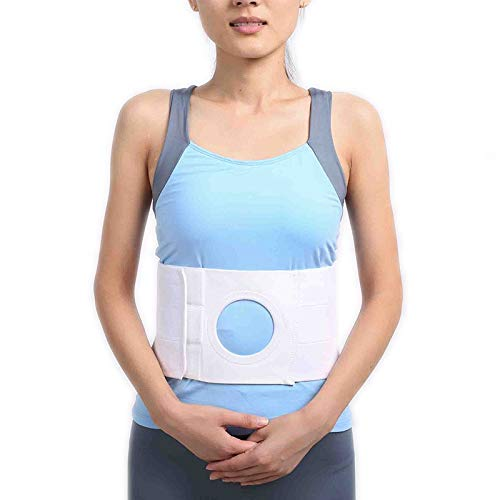Cinturón de ostomía Cinturón abdominal soporte de soporte de la cintura en el estoma abdominal para corregir la bolsa y prevenir las almohadillas de compresión removibles de la hernia de la hernia par