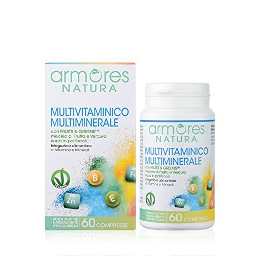 Armores Natura Integratori Alimentari, Multivitaminico Multiminerale, Integratore per Favorire l'Apporto di Vitamine e Sali Minerali all'Organismo, con Fruits & Greens, Vegano, 60 Compresse