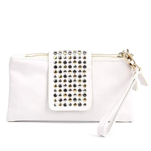 Sac À Main Lady Womens Black Rivet Stud Handbag PU Leather Clutch Purse Wallet Card Bag Beige