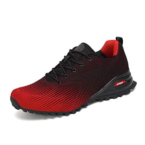 Dannto Zapatillas de Deporte Hombre Zapatos para Correr Aire Libre y Deporte Athletic Cordones Zapatillas De Running Trail Tenis Basket Respirable Gimnasio Sneakers (Rojo,44