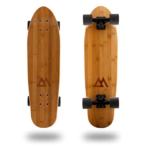 Magneto Mini Cruiser Skateboard Cruiser | Short Board | Canadian Maple Deck - Designed for Kids, Teens and Adults … (Bamboo)