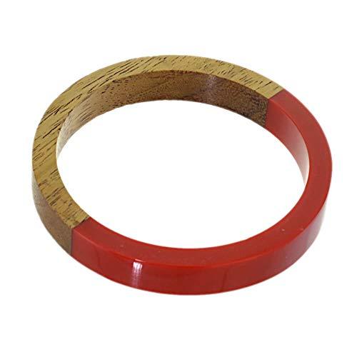 SB58 Armreif aus Holz, Naturton und rotem Kunstharz, 6,8 cm Innendurchmesser, Schwarz