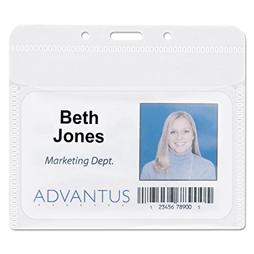 Advantus 75603 PVC-Free Badge Holders, Horizontal, 4-Inch x 3-Inch, Clear, 50/Pack