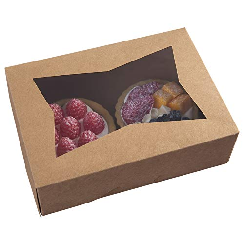 8inch Brown Cookie Boxes with Window,Small Auto-Popup Bakery Boxes for Muffins and Pastry, Kraft Cardboard Clear Lid Dessert Strawberries Dessert Packaging 8x5.75x2.5,Pack of 15