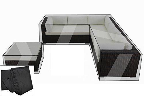 OUTFLEXX Premium Abdeckhauben-Set für Lounge 7766-BOX-A/-D (Ecksofa+Hocker), wasserbeständig, schwarz