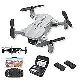 GAOFQ Mini Drone con cámara Drones RC Plegables para Adultos y Principiantes, Drone Ultraligero con cámara 4K HD, Flips 3D, WiFi FPV, Luz LED, Cámara Dual, Modo sin Cabeza, Paquete de 2 baterías
