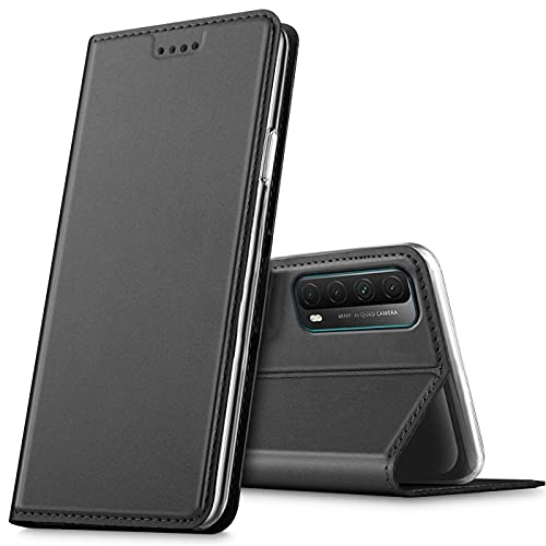 Verco Handyhülle für Huawei P Smart 2021, Premium Handy Flip Cover für P Smart 2021 Hülle [integr. Magnet] Book Hülle PU Leder Tasche, Schwarz