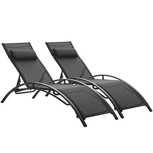 Patio Lounge Chairs Outdoor Pool Chaise Lounges Adjustable for All Weather for Beach Backyard(2-Pack Black