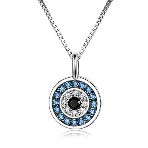 Sterling Silber Runde Blau Evil Eye Anhänger Halskette Mit Zirkonia Blau Amulett Halskette Für Frauen Männer 18inch- Weiß/Roségold/Gelb Verfügbar (White)