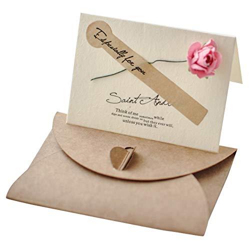 Lumierechat メッセージ カード メッセージカード ミニ プチ 一言メッセージ お礼 フラワー 席札 結婚式 テーブル 多目的 封筒 付き a-9036(10枚/ローズピンク)