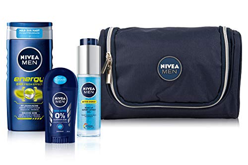 Nivea Men Bestseller set, toilettas met Energy verzorgende douche, Active Energy Wake-up gel en Fresh Active Stick, set voor de verzorgende man
