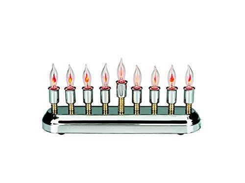 Contemporary Electric Hanukkah Menorah Stainless Steel with Flickering Bulbs