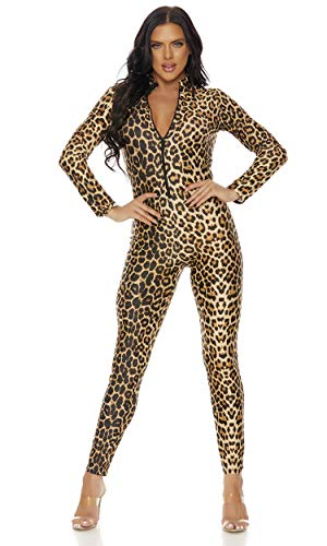 Forplay Women's Leopard Zipfront Catsuit, Brown, Small/Medium