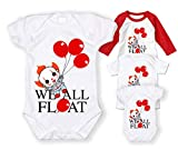 MiMa | Apparel We All Float Down Here Pennywise Baby Bodysuit/Pennywise Tshirt Unisex Child White