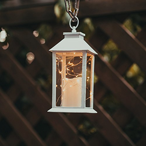 """14"""" Gloden Brushed Vintage Candle Lantern with 30pcs Fairy Light (4 Hours Timer,3 AAA Batteries Included) Hanging Lantern Indoor Outdoor Using Decorative Candle Lanterns Table lanterns"""