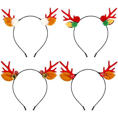 Frgasgds 4 Piezas Diademas para Diadema de Navidad Diadema de Renos Lindos Diadema aro de Pelo con Orejas Tocado Disfraz de Navidad decoración de Fiesta de Navidad para niños y Adultos