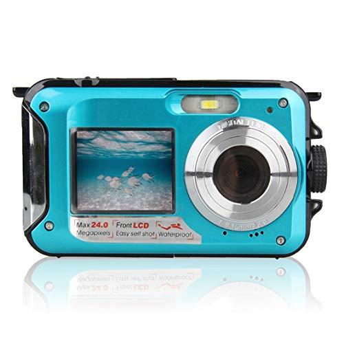 Cámara submarina de doble pantalla HD Foto de grabación de vídeo a prueba de agua impermeable Cámara de vídeo digital de destello deportivo LED