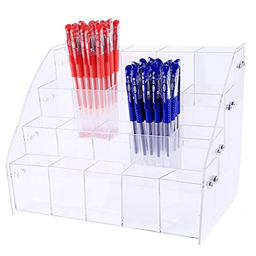 Portalápices acrílico transparente, soporte para guardar pinceles transparente, para escritorio, portalápices organizador de artículos de escritura., color Soporte para bolígrafos de cuatro capas.