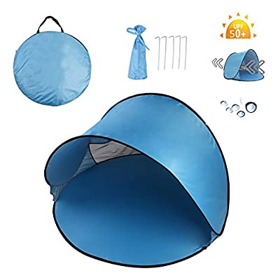 Homboon Automatic Beach Tent, Pop-up Instant Sun Shelter Portable Cabana with Carry Bag Outdoor Anti-Uv Canopy Lightweight Foldable Shade Tent for Camping Fishing Hiking Picnic,59×59×35.4""