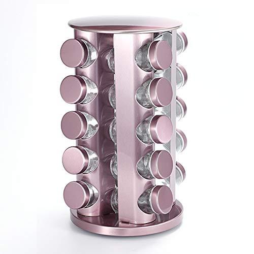 Acero Inoxidable Especiero para Especias, Estante de Almacenamiento de 3/4/5 Niveles para Especias, 360 ° Giratorio Torre de Especias para Camping Barbacoa Cocinarose gold-20 Heads