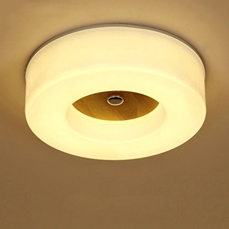AMOS Holz Led Deckenlampe Schlafzimmer Lampe Runde Lampe (gre   S 33  9.5 cm)