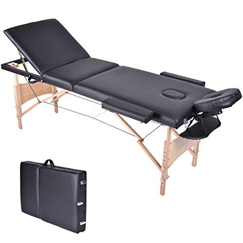Wellhome Lettino da Massaggio 3 Zone Legno Pieghevole Portatile Lettini Massaggi Professionale Tavolo da Massaggio Tattoo con Poggiatesta e Bracciolo Staccabile, Borsa da Trasporto XXL(Nero)