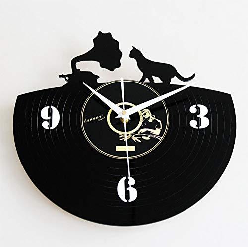 nanxiaotian Fashion creatieve vinyl CD record wandklok retro vintage vinyl platenspeler phonograph huisdecoratie kitten wandklok